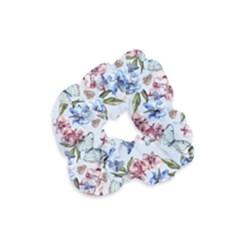 Watercolor Flowers Butterflies Pattern Blue Red Velvet Scrunchie