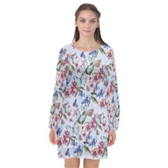 Watercolor Flowers Butterflies Pattern Blue Red Long Sleeve Chiffon Shift Dress