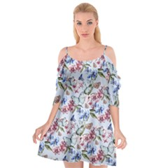 Watercolor Flowers Butterflies Pattern Blue Red Cutout Spaghetti Strap Chiffon Dress
