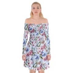 Watercolor Flowers Butterflies Pattern Blue Red Off Shoulder Skater Dress