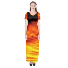 Black Yellow Red Sunset Short Sleeve Maxi Dress