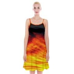 Black Yellow Red Sunset Spaghetti Strap Velvet Dress