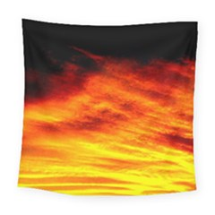 Black Yellow Red Sunset Square Tapestry (large)