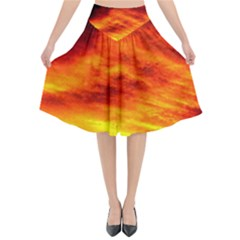 Black Yellow Red Sunset Flared Midi Skirt