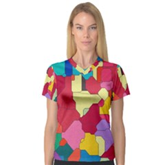Colorful leather pieces             Women s V-Neck Sport Mesh Tee