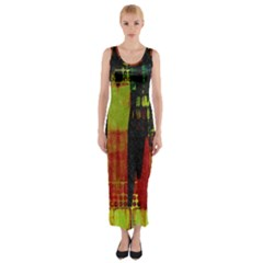 Grunge Texture             Fitted Maxi Dress