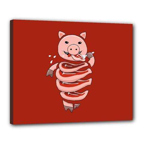 Red Stupid Self Eating Gluttonous Pig Canvas 20  X 16