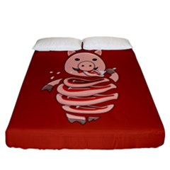 Red Stupid Self Eating Gluttonous Pig Fitted Sheet (California King Size)
