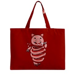 Red Stupid Self Eating Gluttonous Pig Medium Zipper Tote Bag