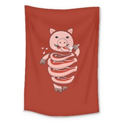 Red Stupid Self Eating Gluttonous Pig Large Tapestry