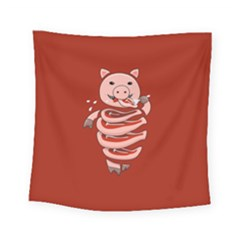 Red Stupid Self Eating Gluttonous Pig Square Tapestry (small)
