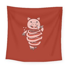 Red Stupid Self Eating Gluttonous Pig Square Tapestry (Large)