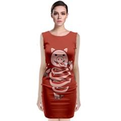 Red Stupid Self Eating Gluttonous Pig Sleeveless Velvet Midi Dress