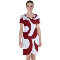 Hindu Om Symbol (Dark Red) Short Sleeve Nightdress