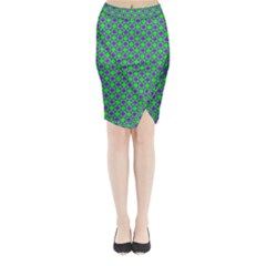 Friendly Retro Pattern A Midi Wrap Pencil Skirt