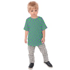 Friendly Retro Pattern A Kids  Raglan Tee