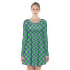 Friendly Retro Pattern A Long Sleeve Velvet V Neck Dress