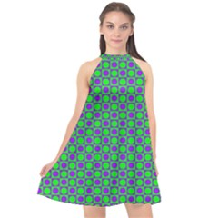 Friendly Retro Pattern A Halter Neckline Chiffon Dress