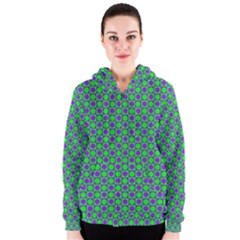 Friendly Retro Pattern A Women s Zipper Hoodie