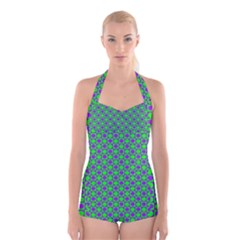 Friendly Retro Pattern A Boyleg Halter Swimsuit