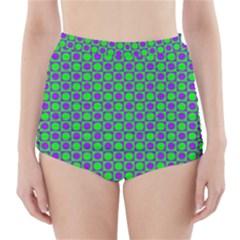 Friendly Retro Pattern A High-Waisted Bikini Bottoms