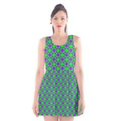 Friendly Retro Pattern A Scoop Neck Skater Dress