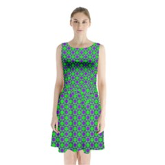 Friendly Retro Pattern A Sleeveless Waist Tie Chiffon Dress