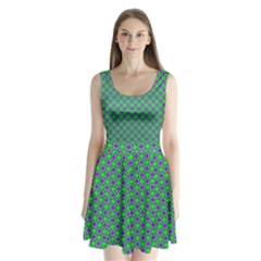 Friendly Retro Pattern A Split Back Mini Dress