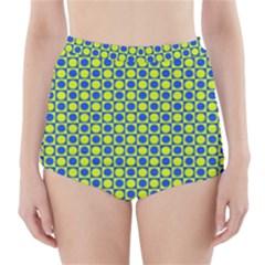 Friendly Retro Pattern C High-Waisted Bikini Bottoms