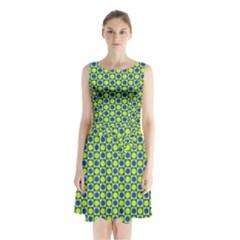Friendly Retro Pattern C Sleeveless Waist Tie Chiffon Dress
