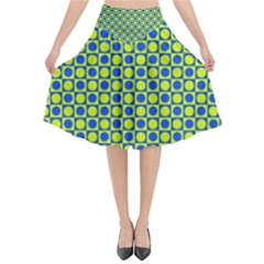 Friendly Retro Pattern C Flared Midi Skirt