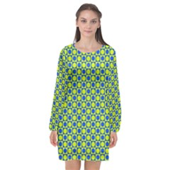 Friendly Retro Pattern C Long Sleeve Chiffon Shift Dress