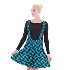 Friendly Retro Pattern E Suspender Skater Skirt