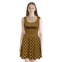Friendly Retro Pattern F Split Back Mini Dress