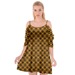 Friendly Retro Pattern F Cutout Spaghetti Strap Chiffon Dress
