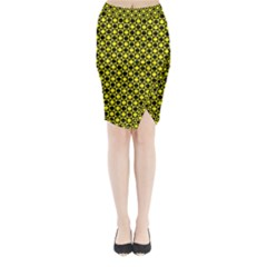 Friendly Retro Pattern I Midi Wrap Pencil Skirt