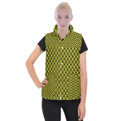 Friendly Retro Pattern I Women s Button Up Puffer Vest