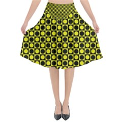 Friendly Retro Pattern I Flared Midi Skirt