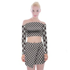 Friendly Retro Pattern H Off Shoulder Top With Skirt Set