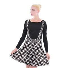 Friendly Retro Pattern H Suspender Skater Skirt