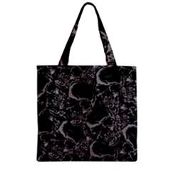 Skulls Pattern Zipper Grocery Tote Bag