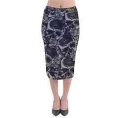 Skulls Pattern Velvet Midi Pencil Skirt
