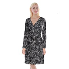 Skulls Pattern Long Sleeve Velvet Front Wrap Dress