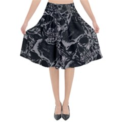 Skulls Pattern Flared Midi Skirt