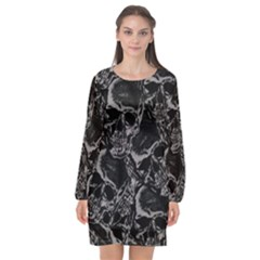 Skulls Pattern Long Sleeve Chiffon Shift Dress