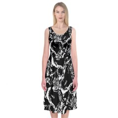 Skulls Pattern Midi Sleeveless Dress