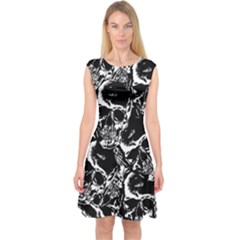 Skulls Pattern Capsleeve Midi Dress