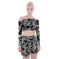 Skulls Pattern Off Shoulder Top With Skirt Set