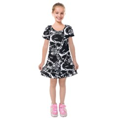 Skulls Pattern Kids  Short Sleeve Velvet Dress