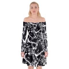 Skulls Pattern Off Shoulder Skater Dress